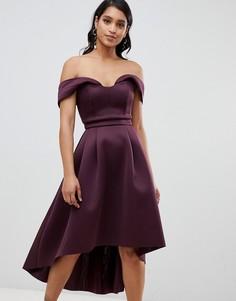 Платье миди для выпускного с открытыми плечами ASOS - Фиолетовый