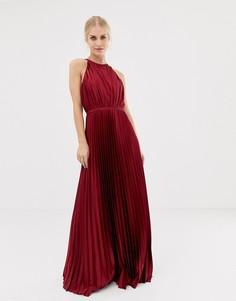 Темно-красное атласное платье макси с высоким воротом Chi Chi London - Красный
