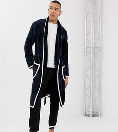 Темно-синий халат со светло-бежевой окантовкой ASOS DESIGN Tall - Темно-синий