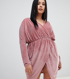 Розовое бархатное платье мини в рубчик Missguided Plus - Розовый