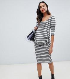 Облегающее платье миди в рубчик с полосками ASOS DESIGN Maternity - Мульти