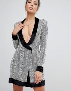 Серебристое декорированное платье с запахом Missguided Peace & Love - Серебряный