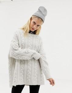 Oversize-джемпер с узором косичка AllSaints Marcel - Серый