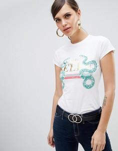 Белая футболка с принтом змей River Island - Белый