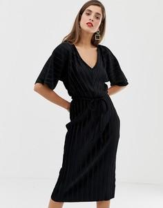 Плиссированное черное бархатное платье-футболка с завязкой на талии River Island - Черный