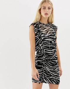 Платье мини с тигриным принтом AllSaints - Мульти