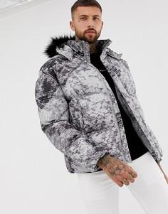 Серая дутая куртка со съемным капюшоном boohooMAN - Серый