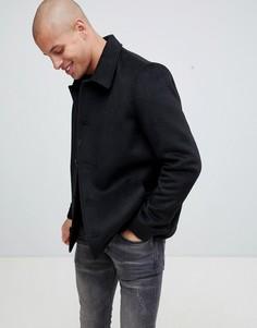 Черная куртка на пуговицах с добавлением шерсти ASOS DESIGN - Черный