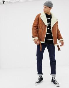 Байкерская куртка с подкладкой из искусственного меха ASOS DESIGN - Рыжий
