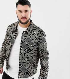 Черная велюровая куртка в стиле вестерн с золотистыми пайетками ASOS DESIGN Plus - Черный