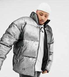 Свободная дутая куртка серебристого цвета с отделкой пайетками ASOS DESIGN Plus - Серебряный