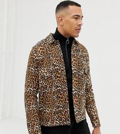 Джинсовая куртка c леопардовым принтом ASOS DESIGN Tall - Рыжий