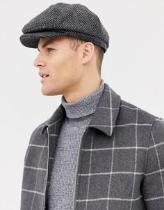 Серая кепка газетчика с узором в елочку Burton Menswear - Серый