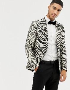 Блейзер с принтом зебры Devils Advocate - Черный