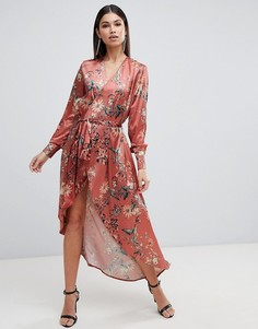 Платье макси с цветочным принтом, запахом и длинными рукавами Club L - Оранжевый