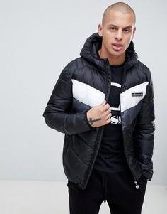 Черная дутая куртка с шевронным узором ellesse Ginap - Черный