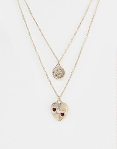 Золотистое ожерелье в несколько рядов с подвесками в винтажном стиле ASOS DESIGN - Золотой