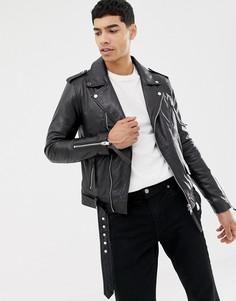 Кожаная байкерская куртка на молнии Barneys Originals - Черный