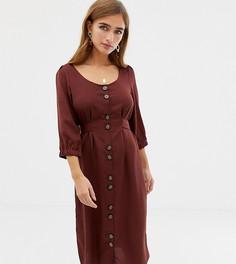 Платье макси на пуговицах с квадратным вырезом Vero Moda Petite - Коричневый