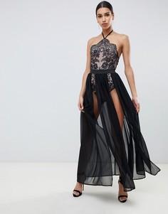 Черное платье макси с двумя разрезами и боди Rare London - Черный