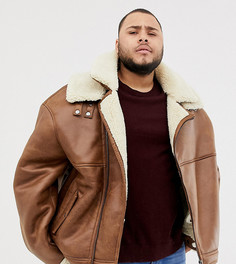 Светло-коричневая байкерская куртка из искусственной кожи с подкладкой из искусственного меха River Island Big & Tall - Рыжий
