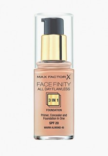Тональный крем Max Factor Facefinity All Day Flawless 3-in-1 45 тон warm almond Facefinity All Day Flawless 3-in-1 45 тон warm almond