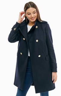 Двубортное шерстяное пальто синего цвета Tommy Hilfiger