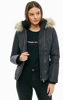Короткий черный пуховик с капюшоном Tommy Jeans