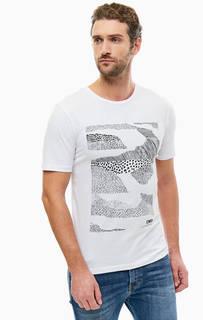 Белая футболка из хлопка с принтом Selected