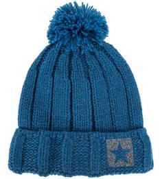 Полушерстяная синяя шапка с помпоном Noryalli