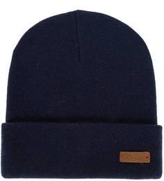 Полушерстяная синяя шапка мелкой вязки Noryalli