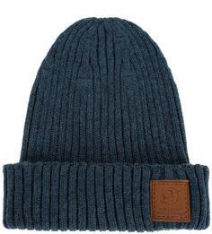 Синяя полушерстяная шапка крупной вязки Noryalli