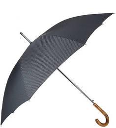 Зонт-трость серого цвета с деревянной ручкой Doppler