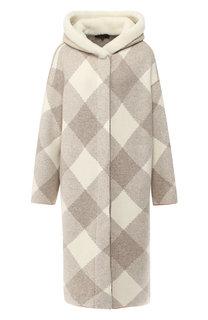 Кашемировое пальто с меховым капюшоном Loro Piana