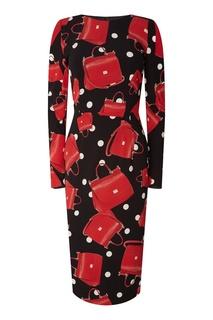 Платье миди с комбинированным принтом Dolce & Gabbana