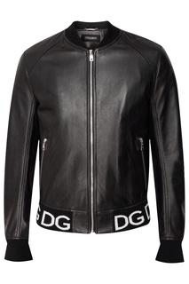Кожаная куртка с логотипом Dolce & Gabbana