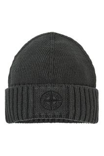Хлопковая шапка с логотипом Stone Island Kids