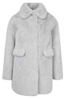 Серо-голубое меховое пальто Yves Salomon Kids
