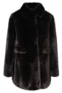 Черное меховое пальто Yves Salomon Kids