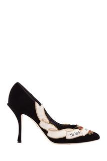 Черные туфли из бархата с аппликацией Lori Dolce & Gabbana
