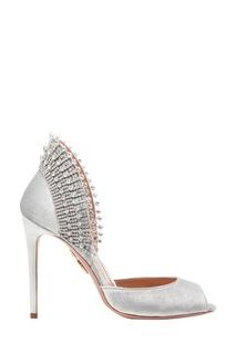 Серебристые туфли Concorde Crystal Peep Toe 105 Aquazzura