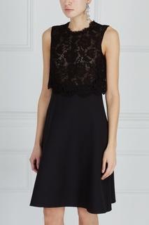 Хлопковое платье с черным кружевом Valentino