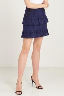 Ажурная юбка с оборками и пуговицами Self Portrait