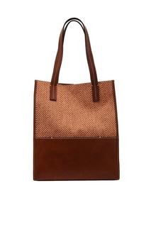 Коричневая сумка из шерсти и кожи Sara C