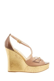 Босоножки на золотистой платформе Christian Dior
