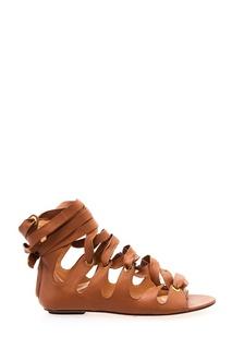 Бежевые сандалии со шнуровкой Elisabetta Franchi