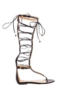 Черные сандалии со шнуровкой Elisabetta Franchi