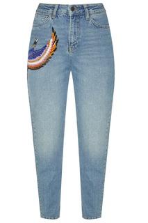 Голубые джинсы с аппликацией Katya Dobryakova