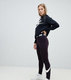 Бордовые леггинсы с завышенной талией и контрастным поясом Nike - Красный
