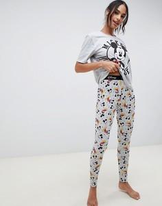 Эксклюзивный пижамный комплект с леггинсами и принтом Микки-Мауса ASOS DESIGN - Серый